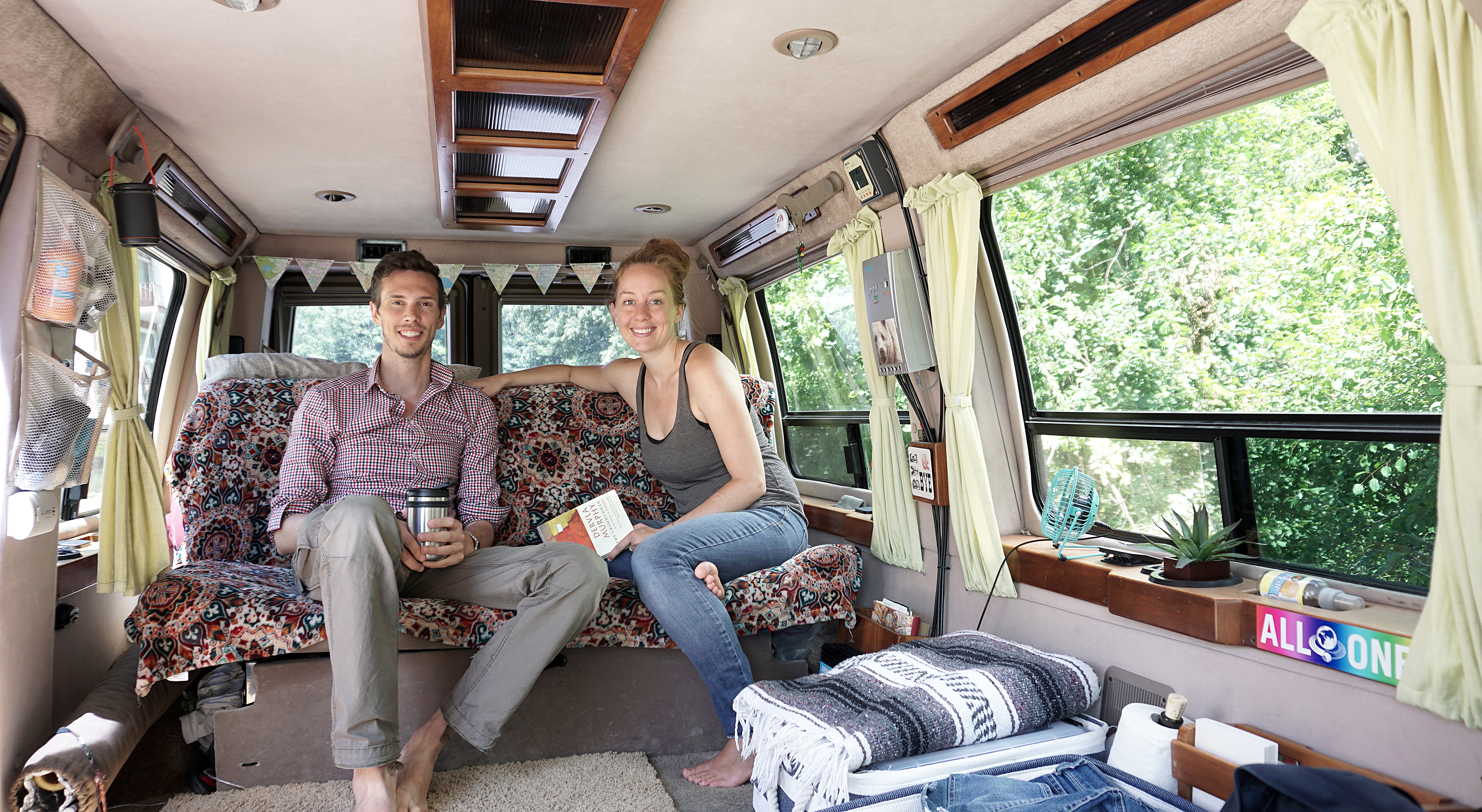 Mat and Danielle in the van - Summer 2015